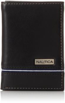 Nautica Men's Trifold Wallet, Black, One Size