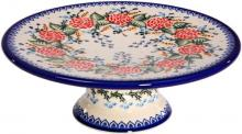 Polish Pottery Ceramika Boleslawiec-1151/280 Cake Plate, Royal Blue Patterns, Medium