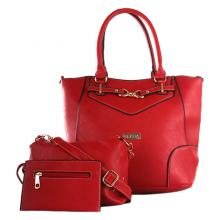 Elena 5390A Shoulder Bag with Sling Bag and Wallet (Red)
