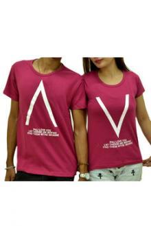 Casual Couple Shirt Caret ∧ Design - Red Violet