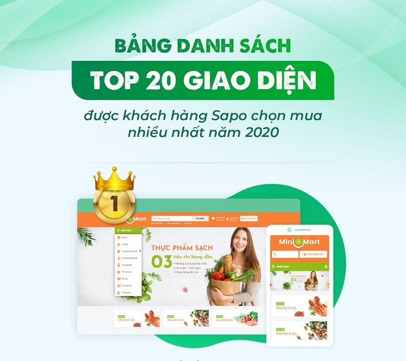 TOP 20 giao diện website được khách hàng Sapo chọn mua nhiều nhất năm 2020