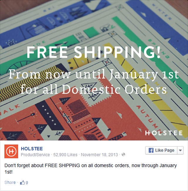 sử dụng Facebook để cung cấp miễn phí vận chuyển