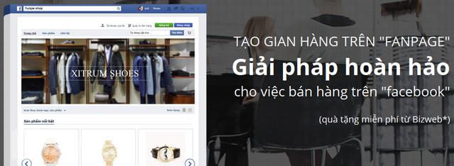 Ứng dụng tạo gian hàng trên fanpage Facebook của Bizweb