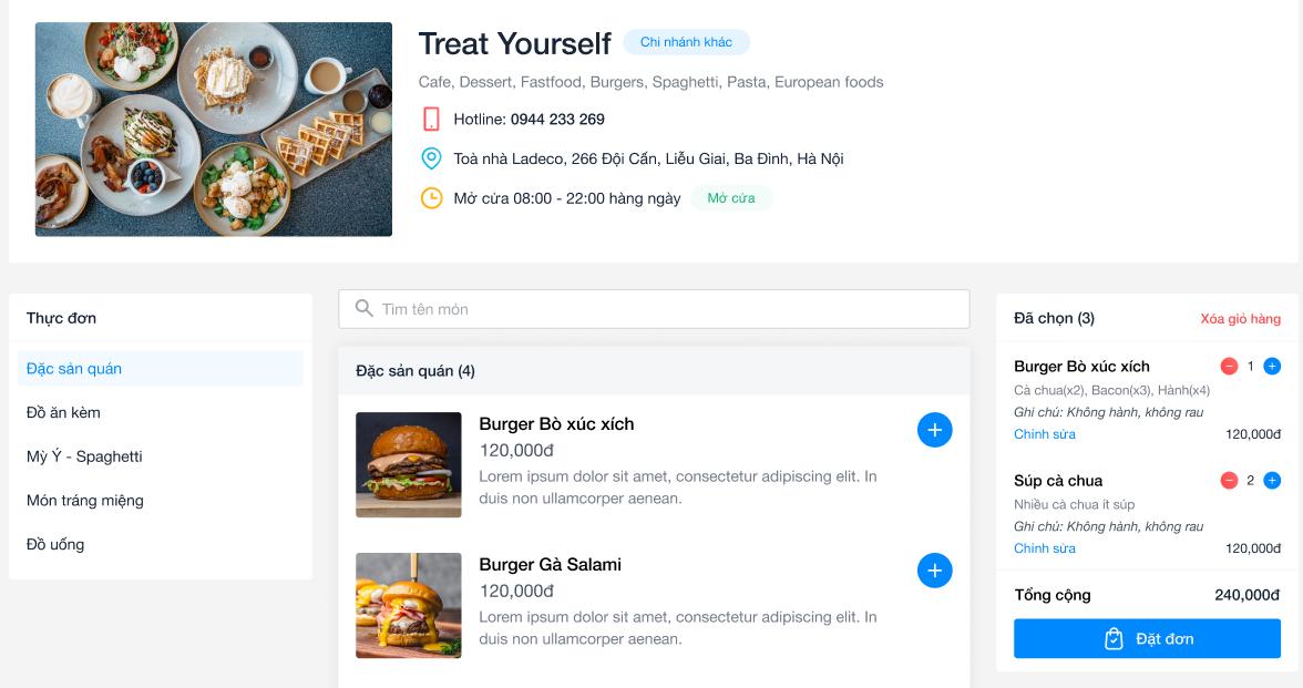 Web order bán online