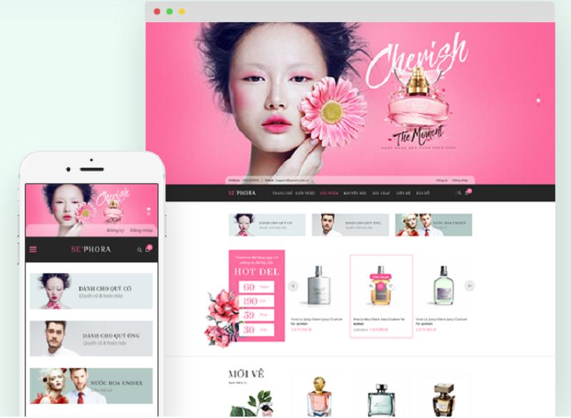 Template web mỹ phẩm đẹp Sephora