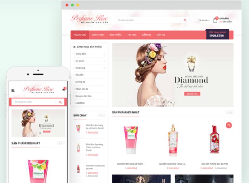 Giao diện website đẹp Perfume Rise bán mỹ phẩm