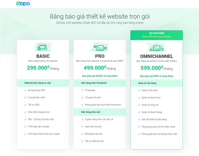 báo giá thiết kế website uy tín chuyên nghiệp sapo web