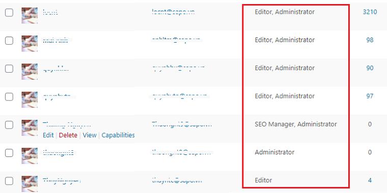 Cấp quyền hạn hợp lý cho các tài khoản quản trị web