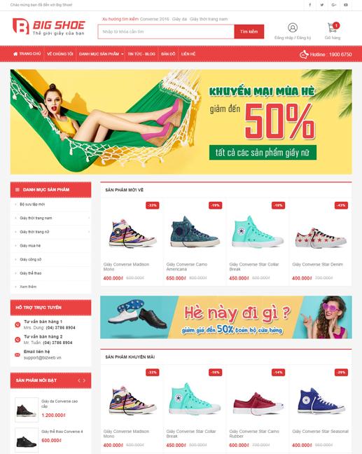 mẫu giao diện trang web bán giày Big Shoe