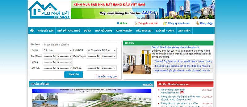 Website bất động sản Alonhadat.com.vn