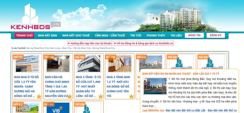 Trang web đăng tin mua bán nhà đất Kenhbds.vn