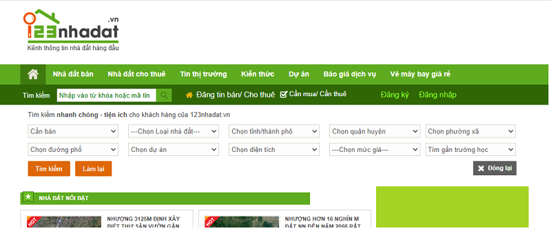 Trang web mua bán nhà đất uy tín 123nhadat.vn