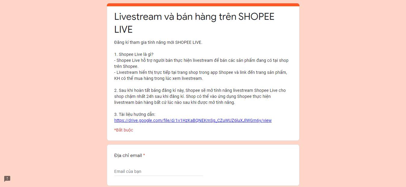 form đăng ký shopee live