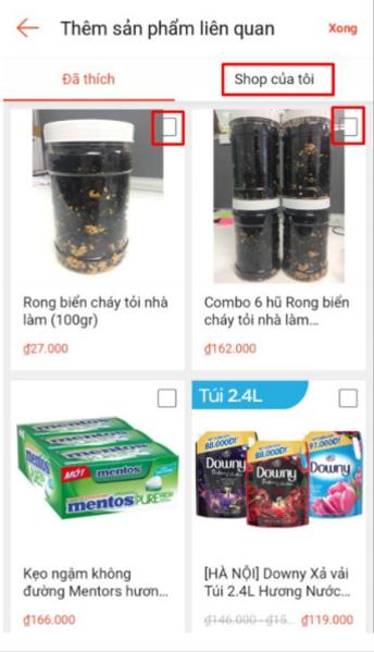 Thêm sản phẩm để livestream shoppe