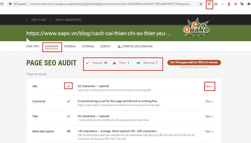 công cụ kiểm tra tối ưu website chuẩn seo seoquake