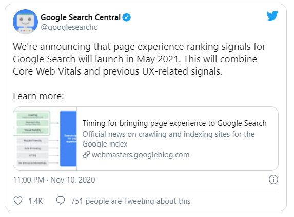 thông báo của google về core web vitals 2021