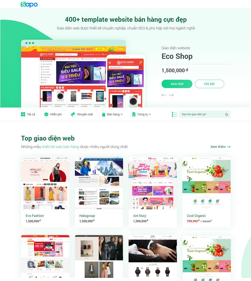 thiết kế website trọn gói tại Sapo Web với gkho giao diện phong phú