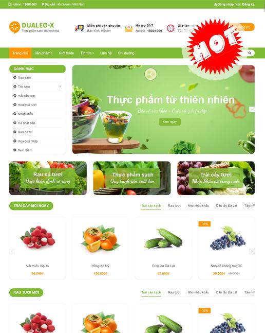 theme website ngành thực phẩm, hoa quả Dualeo-X