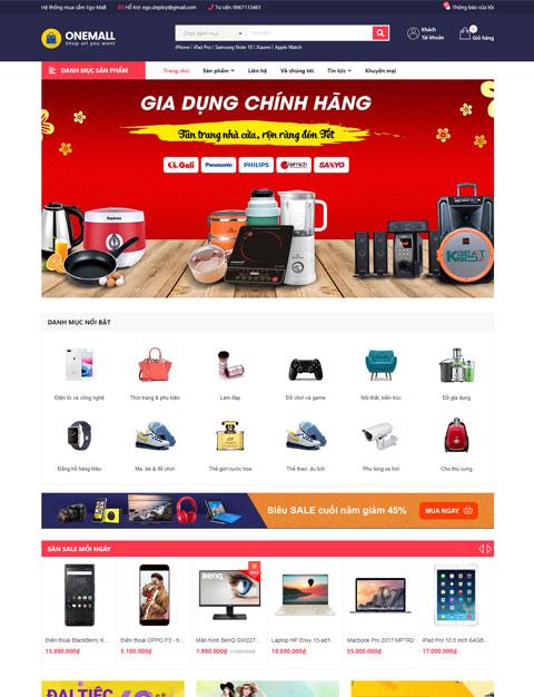 Theme web OneMall kinh doanh đồ điện tử - Sapo web