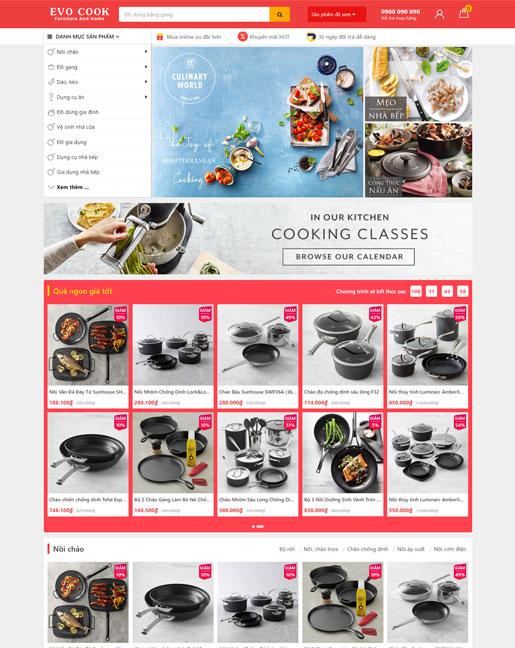 Giao diện website Evo Cook bán dụng cụ gia dụng