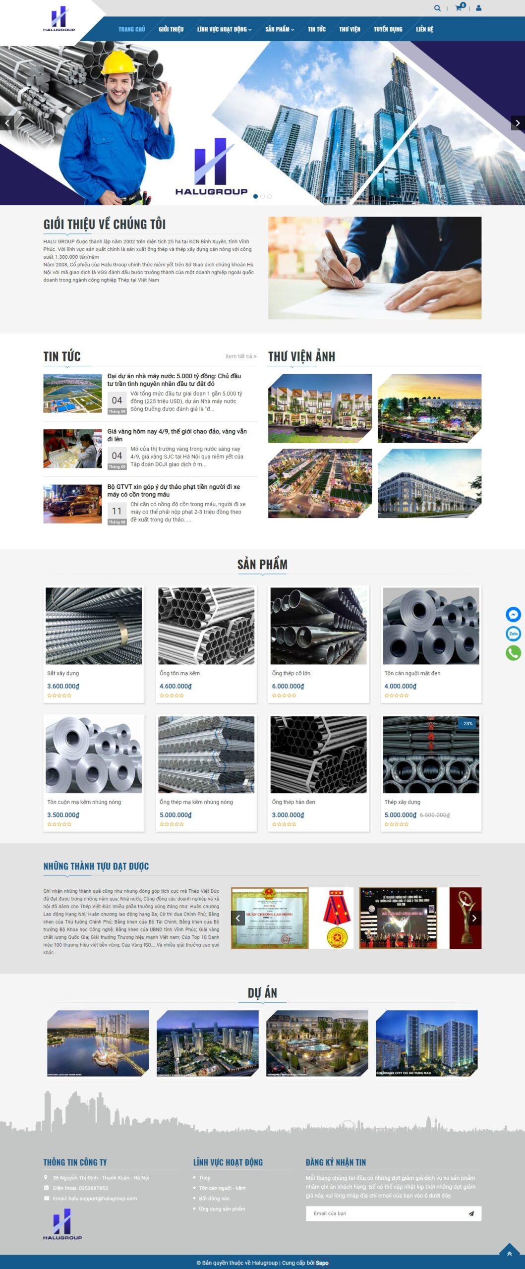 template bán hàng Halugroup ngành xây dựng