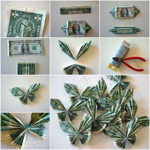 cách làm cây tiền thật, gấp hình con bướm