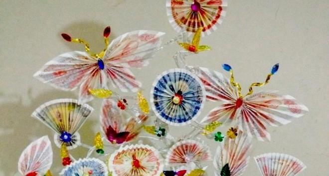 Thành phẩm từ hướng dẫn cách làm cây tiền thật hình con bướm