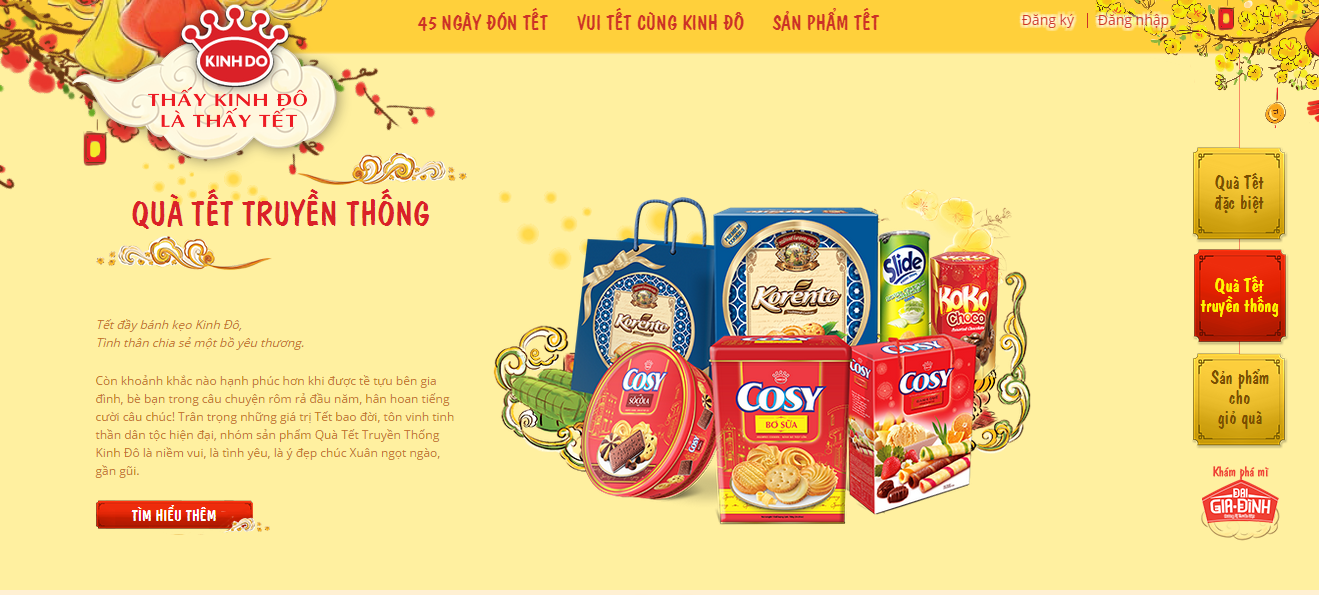 Website bánh kẹo kinh đô với thiết kế vô cùng ấn tượng, đẹp mắt