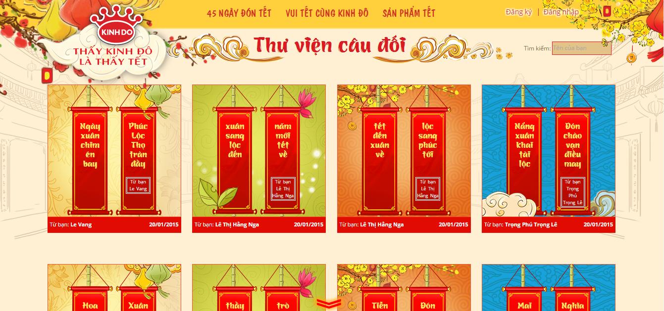 Các câu đối của khách hàng được trưng bày trên website