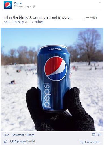 Pepsi đã tận dụng những post trống để cho fans tham gia