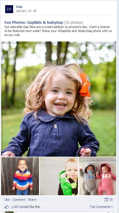 GAP đăng những hình ảnh do fan chụp khi cho con mình mặc sản phẩm của hãng này
