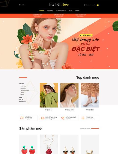 mẫu website thời trang, trang sức đẹp