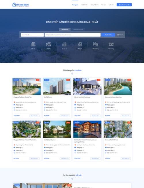 mẫu website bất động sản đẹp tại Sapo Web