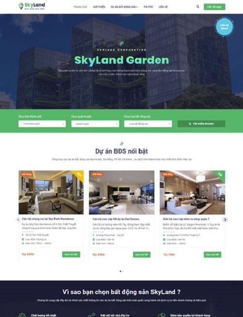 Mẫu website bất động sản đẹp SkyLand