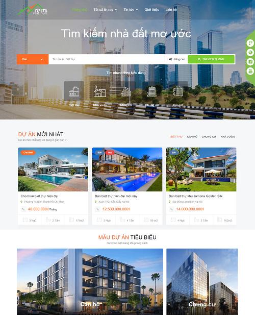 Template website bất động sản Delta Platinum