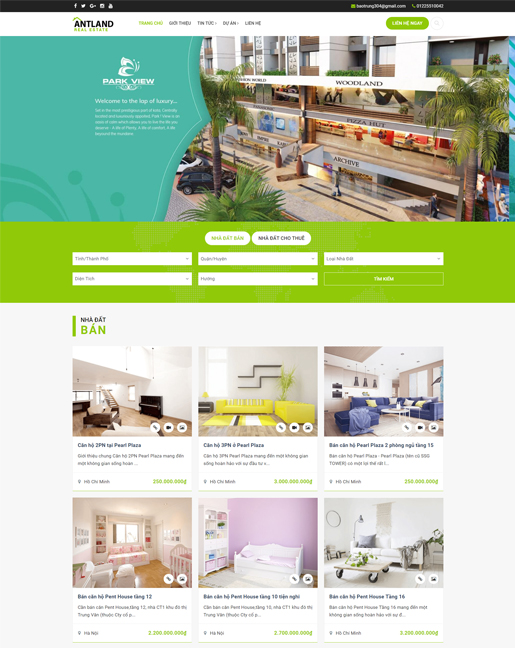Mẫu trang web đăng tin bất động sản đẹp Ant Land