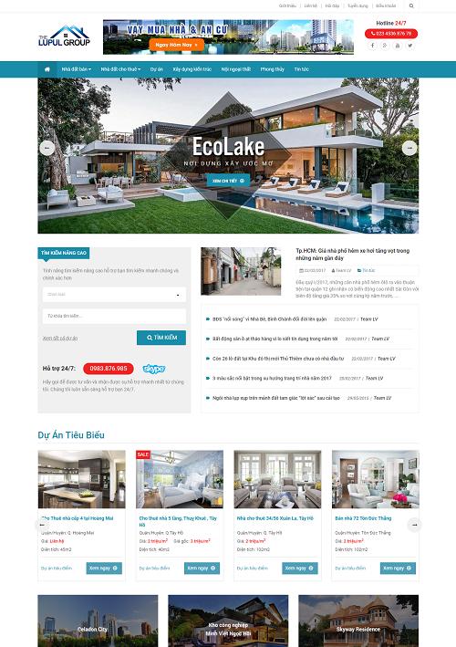 Mẫu thiết kế website Bất Động Sản Lupul Group