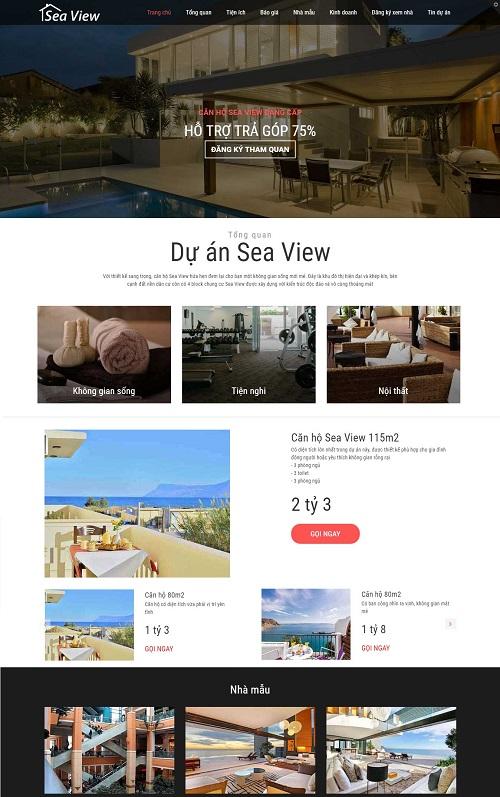 Mẫu landing page giới thiệu dự án BĐS Sea View