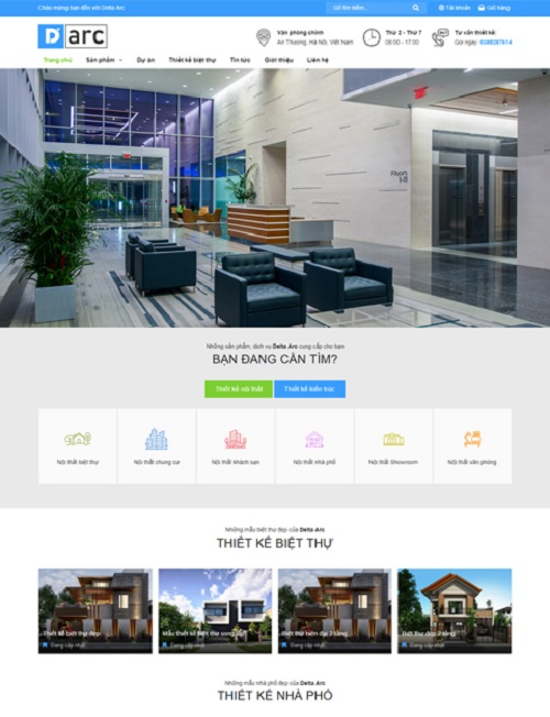 Mẫu website dự án nhà đất Delta Arc