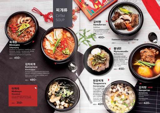 chưa menu nhà hàng thành các phần khác nhau