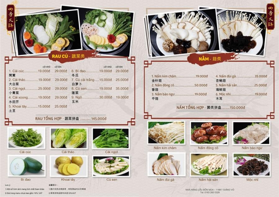 Nên để menu nhà hàng phù hợp với chất lượng món ăn