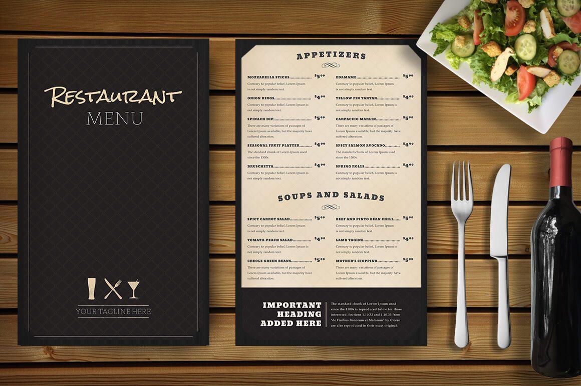 menu nhà hàng tinh tế