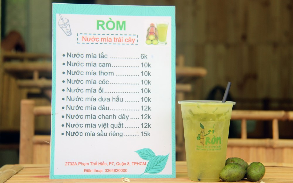 menu quán nước mía đa dạng