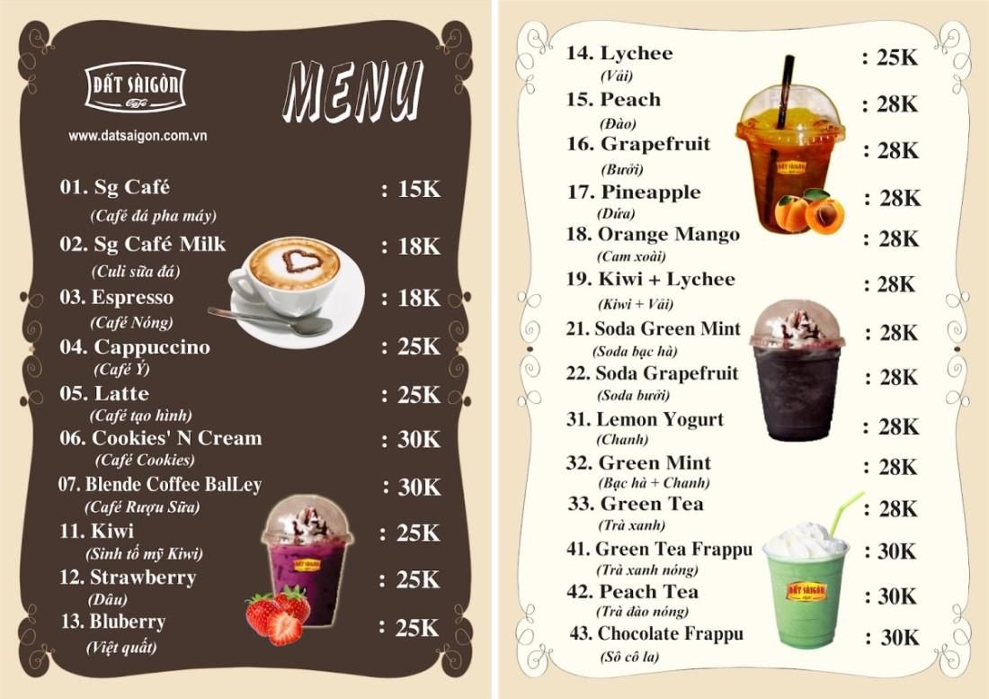 thiết kế menu nhà hàng với giá từ thấp đến cao