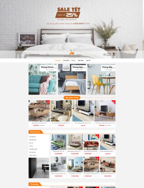 Mẫu website bán nội thất Mew Furniture