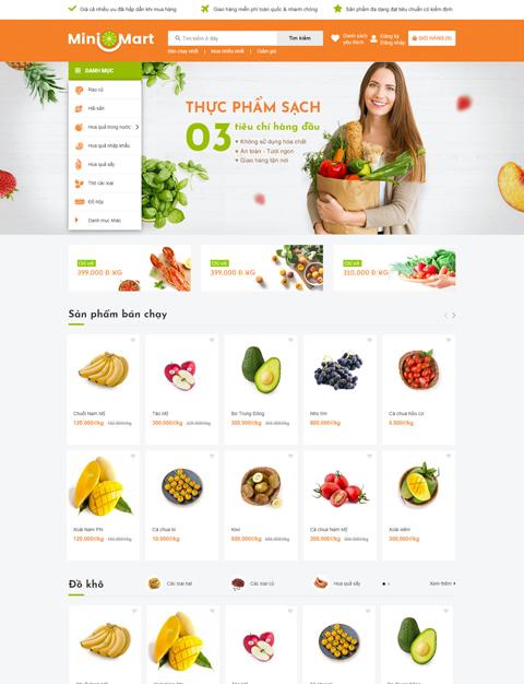 mẫu website ngành thực phẩm sapo web