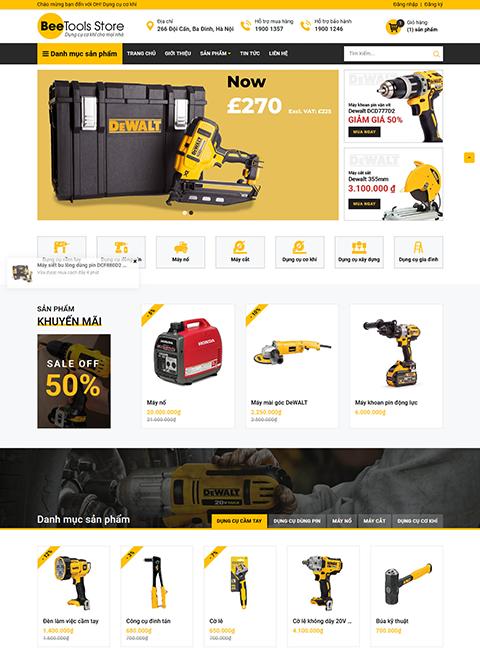 mẫu template website bán dụng cụ, thiết bị