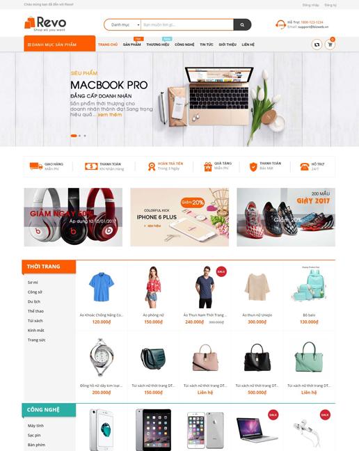 mẫu template bán hàng thời trang Revo Store