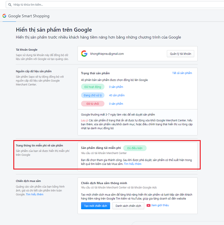 Google Smart Shopping tren Sapo Web