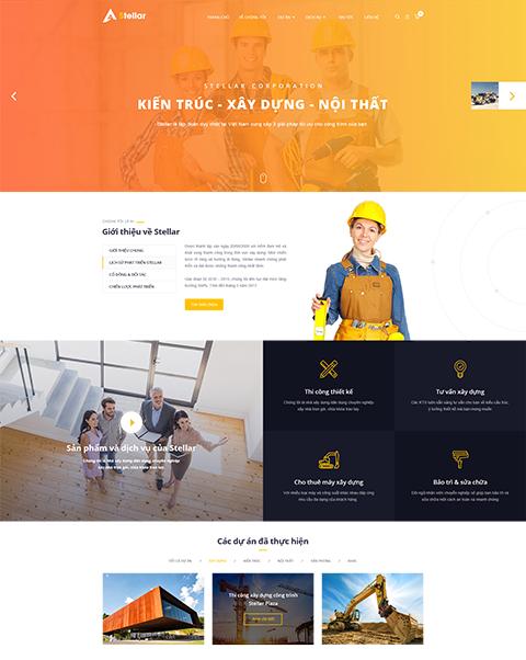mẫu theme webiste Stellar ngành xây dựng, kiến trúc